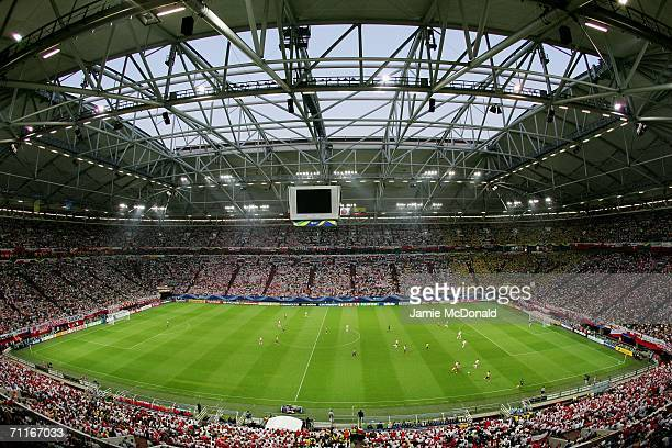 A general view of the game during the FIFA World Cup Germany 2006 Group A match between Poland and Ecuador at the Stadium Gelsenkirchen on June 9...