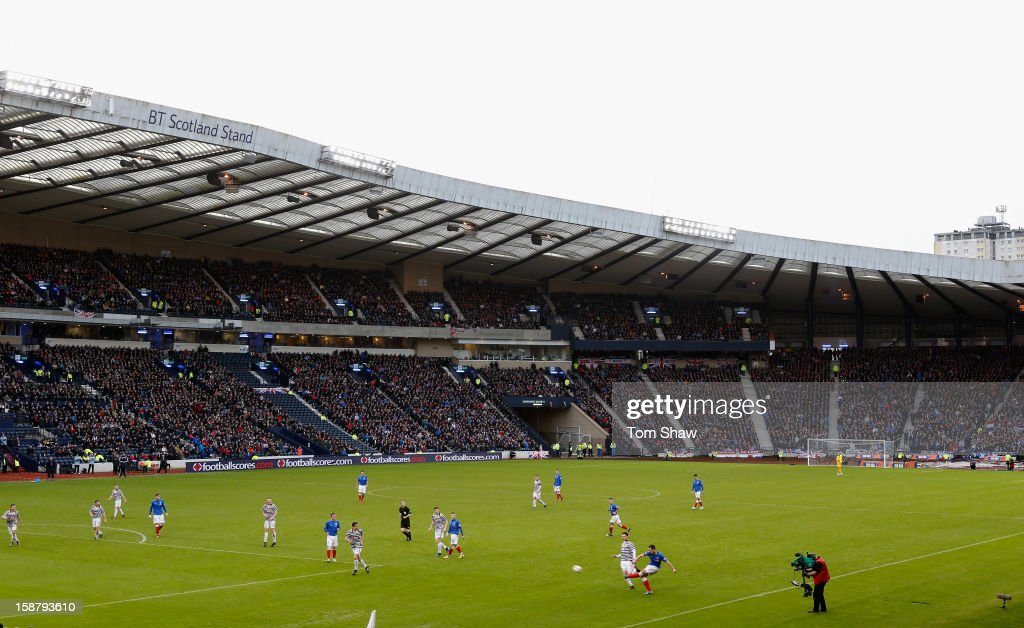 A general view of the game during the IRN-BRU Scottish Third Division match between Queens Park and Rangers at Hampden Park on December 29, 2012 in Glasgow, Scotland.