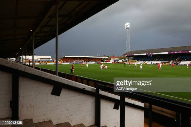 General view of the game with empty terraces during the Sky Bet League Two match between Cambridge United and Newport County at Abbey Stadium. .