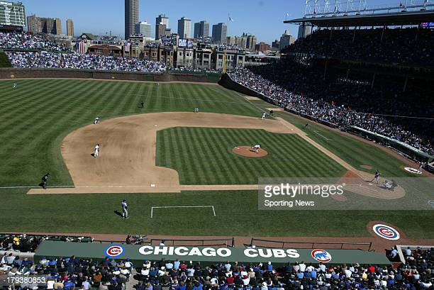 General view of the game with the Milwaukee Brewers and Chicago Cubs on April 8 2005 at Wrigley Field in Chicago Illnois The Brewers defeated the...
