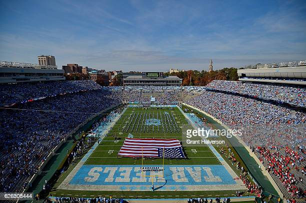 General view of the gamew between the North Carolina Tar Heels and the North Carolina State Wolfpack at Kenan Stadium on November 25 2016 in Chapel...