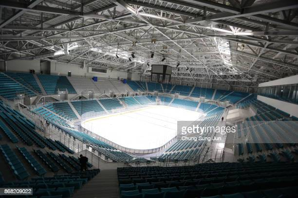A general view of the Gangneung Hockey Centre Ice Hockey venue for the PyeongChang 2018 Winter Olympic Games on October 30 2017 in Gangneung South...