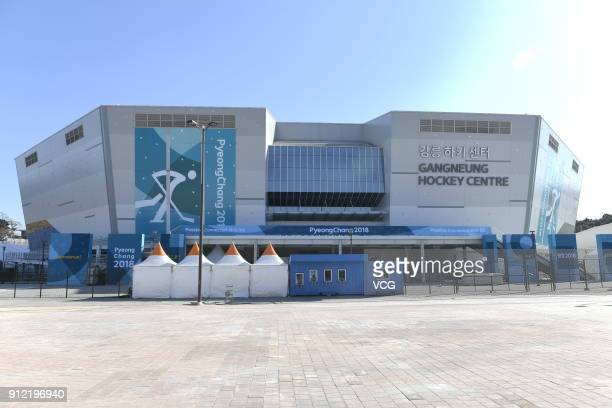 General view of the Gangneung Hockey Centre the venue for the Ice Hockey ahead of PyeongChang 2018 Winter Olympic Games on January 29 2018 in...