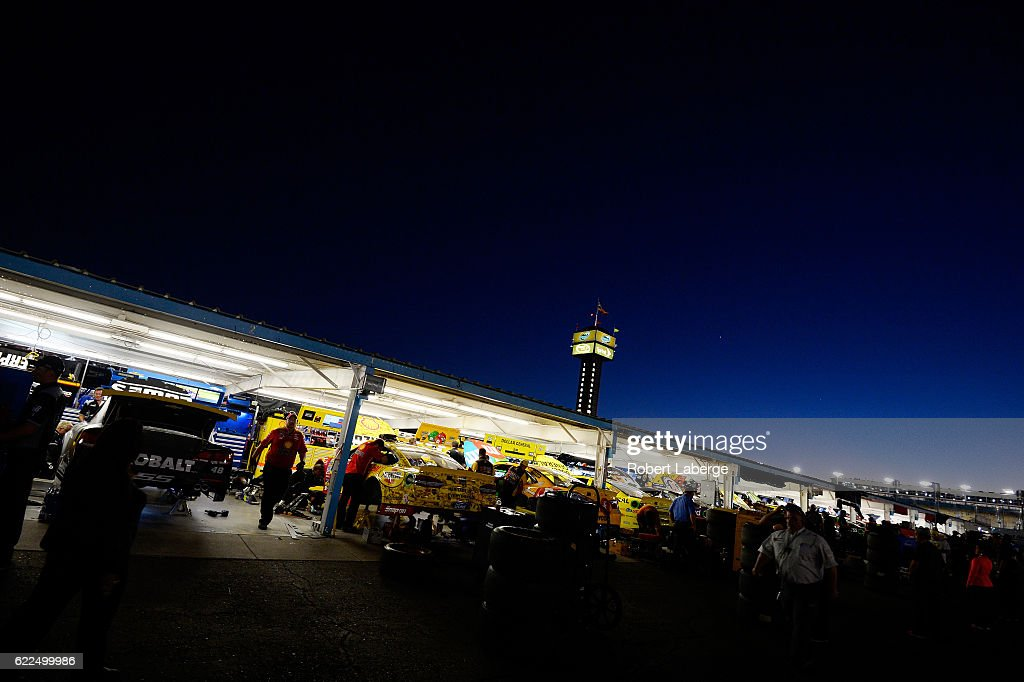 A general view of the garage after qualifying for the NASCAR Sprint Cup Series Can-Am 500 at Phoenix International Raceway on November 11, 2016 in Avondale, Arizona.