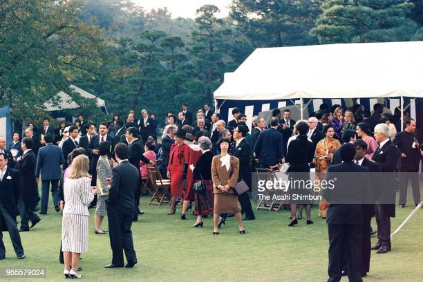 A general view of the garden party celebrating Emperor Akihito's Enthronement at the Akasaka Imperial Garden on November 13 1990 in Tokyo Japan