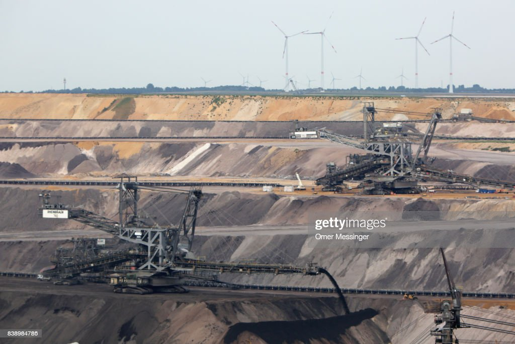 A general view of the Garzweiler open-pit coal mines in the Rhineland (Rhenisch) region of mines west of Cologne on August 25, 2017 near Erkelenz, Germany. Thousands of protesters seeking to bring attention to the impact of coal on climate change have converged on the region for two days of disruptive disobedience. The mines, which include the Hambach, Garzweiler, Inden and Bergheim mines, are operated by German utility RWE and produce lignite coal.