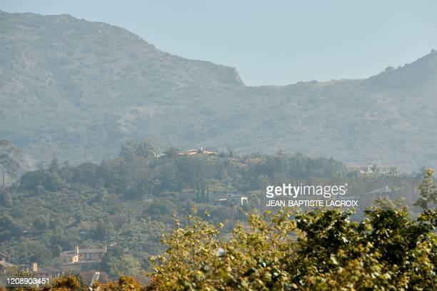A general view of the gated neighborhood where Meghan Markle and Prince Harry are looking to establish their residence Serra Retreat in Malibu...