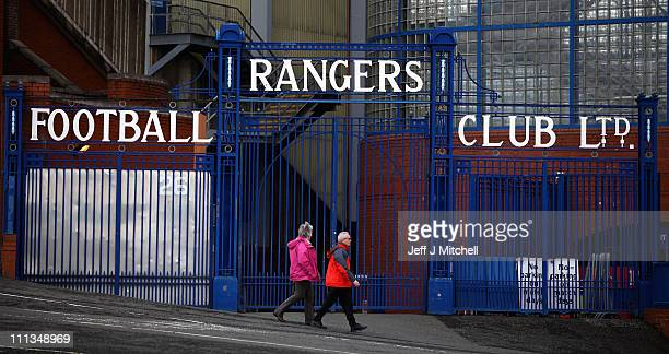 A general view of the gates at Ibrox Stadium on April 1 2011 in Glasgow Scotland Glasgow Rangers announced their interim financial results for the...