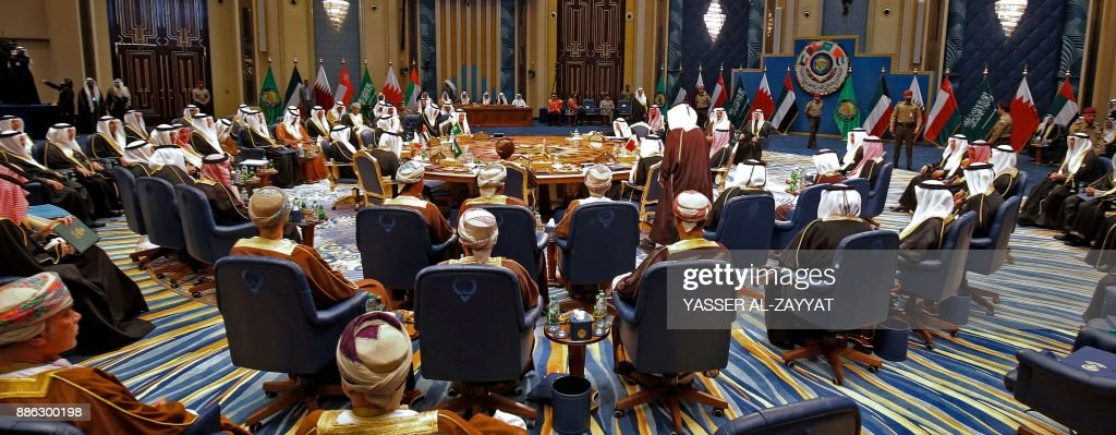 A general view of the GCC leaders attending the Gulf Cooperation Council (GCC) summit at Bayan palace in Kuwait City on December 5, 2017. The Gulf Cooperation Council, which launches its annual summit today in Kuwait amid its deepest ever internal crisis, comprises six Arab monarchies who sit on a third of the world's oil. A political and economic union, the GCC comprises Saudi Arabia, the United Arab Emirates, Kuwait, Qatar, Oman and Bahrain. Dominated by Riyadh, it is a major regional counterweight to rival Iran. PHOTO / Yasser Al-Zayyat