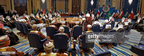 A general view of the GCC leaders attending the Gulf Cooperation Council summit at Bayan palace in Kuwait City on December 5 2017 The Gulf...