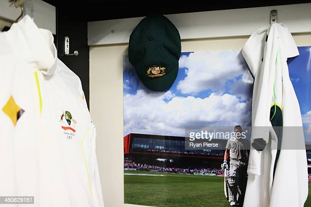 A general view of the gear of Michael Clarke of Australia inside the Australian Cricket Team Dressing Room ahead of the First Ashes Test match at The...