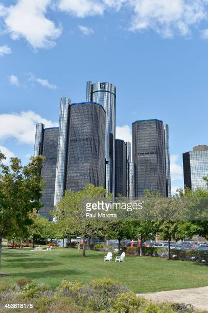 A general view of the General Motors Renaissance Center on August 14 2014 in Detroit Michigan