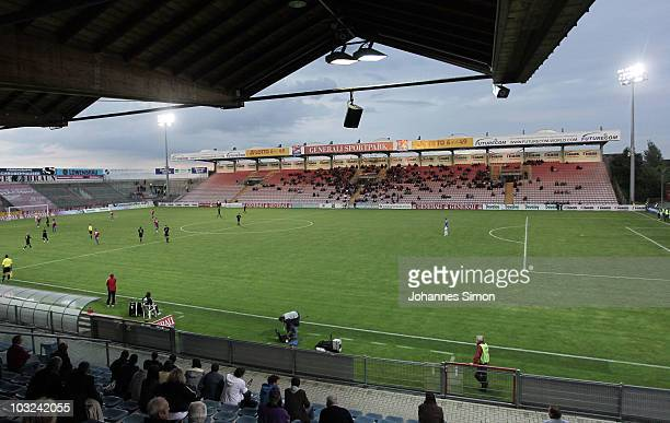 General view of the Generali Sportpark stadium during the 3.Liga match between SpVgg Unterhaching and Rot Weiss Ahlen at the Generali Sportpark on...