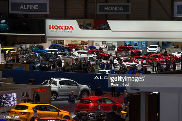 A general view of the Geneva Car Show Hall at the 88th Geneva International Motor Show on March 7 2018 in Geneva Switzerland Global automakers are...