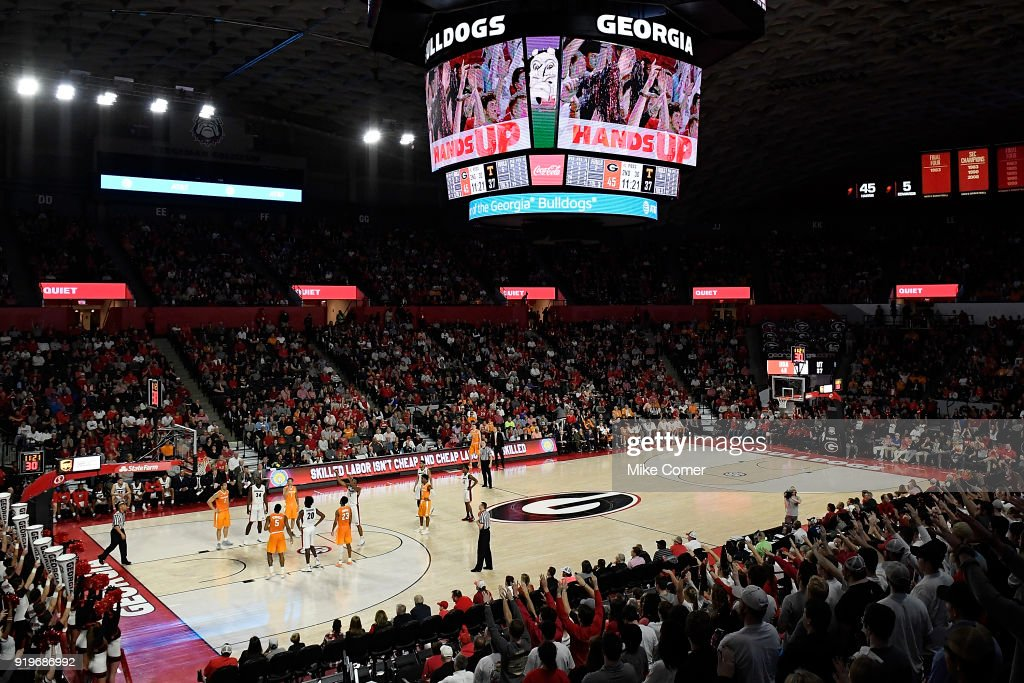 A general view of the Georgia Bulldogs during their basketball game against the Tennessee Volunteers at Stegeman Coliseum on February 17, 2018 in Athens, Georgia.