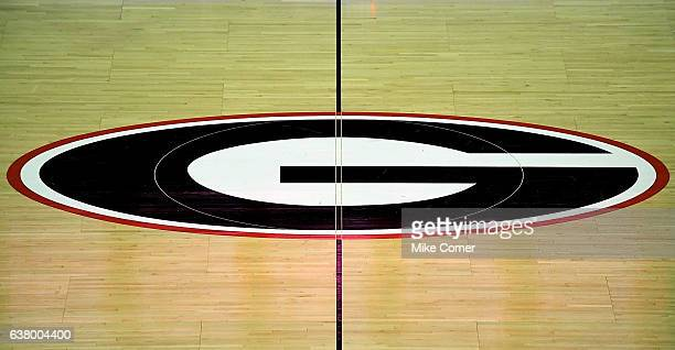 A general view of the Georgia Bulldogs' logo at midcourt at Stegeman Coliseum on January 4 2017 in Athens Georgia