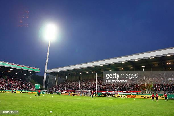 General view of the GeorgMelchesStadium during the second round DFB Cup match between RotWeiss Essen and Hertha BSC Berlin at GeorgMelchesStadion on...