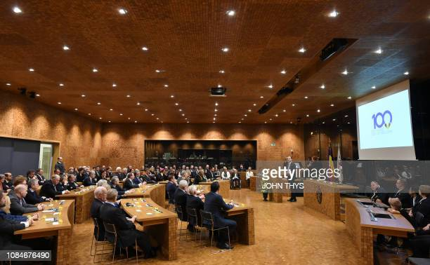 A general view of the German community parliament during the celebrations for the 100th anniversary of the germanspeaking community in Eupen Friday...