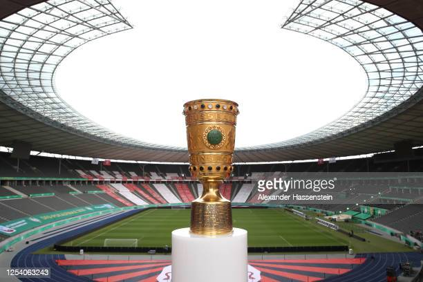 A general view of the German Cup winners Trophy ahead of the German Cup Final 2020 between Bayer 04 Leverkusen and FC Bayern Muenchen at...