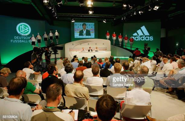 A general view of the German National Team press conference for the Confederations Cup 2005 featuring Assistant Coach Joachim Loew and Press Officer...
