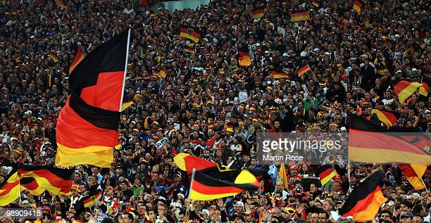 General view of the German supporters is seen during the IIHF World Championship group D match between USA and Germany at Veltins Arena on May 7 2010...