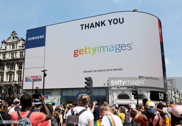 General view of the Getty Images logo on the big screen at Piccadilly Circus during Pride In London on July 7, 2018 in London, England. It is...