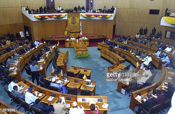 A general view of the Ghanian parliament prior to the opening of the 15nation Economic Community of West African States summit on the civil war in...
