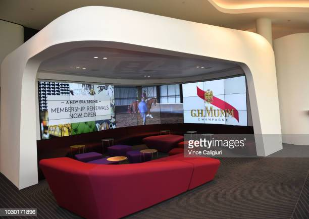 General view of the GHMumm Champagne bar during a media preview of the new Club Stand at Flemington Racecourse on September 10 2018 in Melbourne...