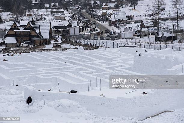 A general view of the Giant Maze under construction to set a new Guinness World Record as the structure is made of blocks of ice entirely and the...