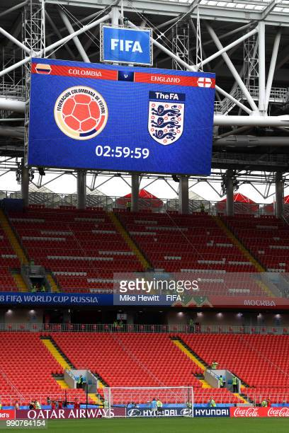 A general view of the giant screen prior to the 2018 FIFA World Cup Russia Round of 16 match between Colombia and England at Spartak Stadium on July...