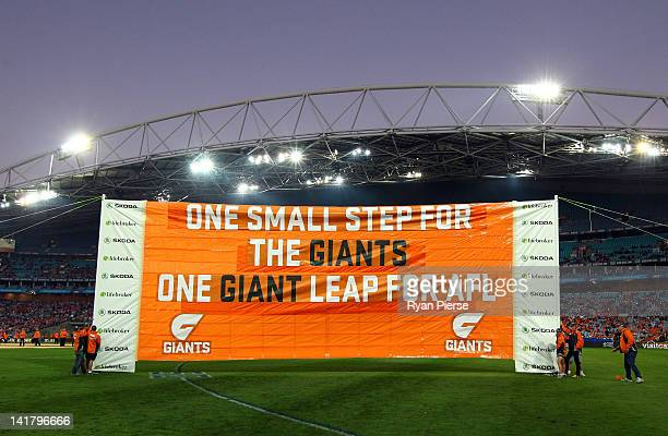 A general view of the Giants banner during the round one AFL match between the Greater Western Sydney Giants and the Sydney Swans at ANZ Stadium on...