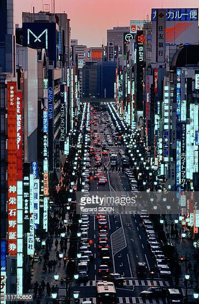 A general view of the Ginza district at night in TokyoJapan