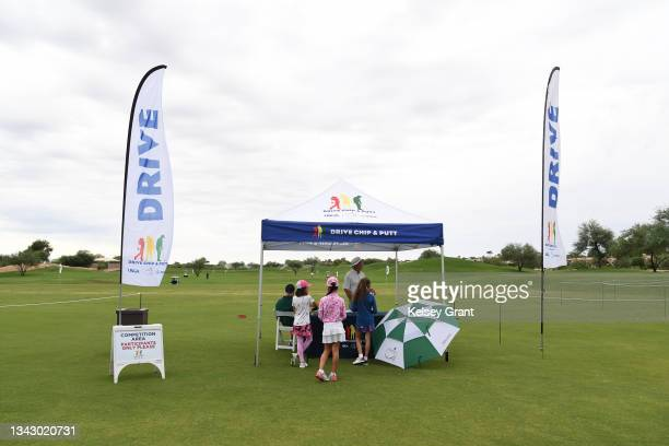 General view of the girls 7-9 category during the 2021 Drive, Chip and Putt Regional Qualifier at TPC Scottsdale on September 26, 2021 in Scottsdale,...