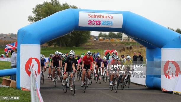 A general view of the Girls B Heat start in the cycling during day two of the 2013 Sainsburys School Games at Forge Valley School Sheffield PRESS...