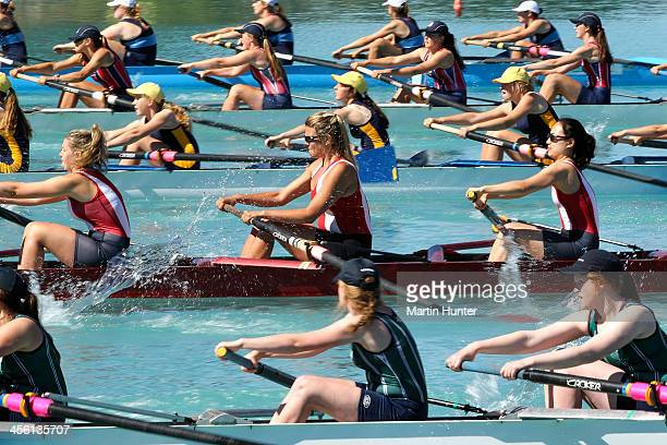 General view of the Girls Coxless Fours during the 2013 Meridian Otago Rowing Championships at Lake Ruataniwha on December 14, 2013 in Central Otago,...