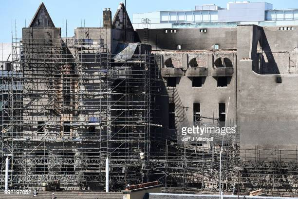 A general view of the Glasgow School of Art Mackintosh building which is set to be dismantled in the coming days on July 5 2018 in Glasgow Scotland...