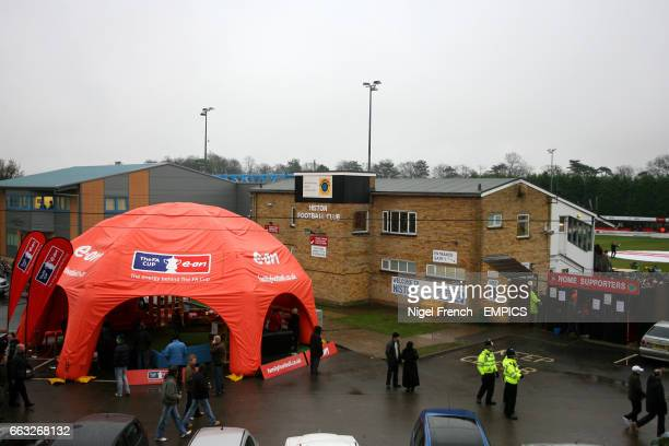 General view of The Glass World Stadium, home to Histon FC.