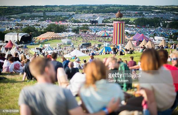 A general view of the Glastonbury Festival at Worthy Farm Pilton on June 24 2015 in Glastonbury England