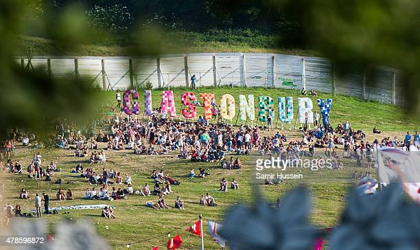 A general view of the Glastonbury sign at the Glastonbury Festival at Worthy Farm Pilton on June 25 2015 in Glastonbury England