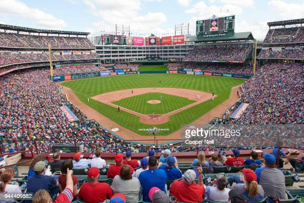 A general view of the Globe Life Park during the game between the Texas Rangers and Houston Astros on Thursday March 29 2018 in Arlington Texas
