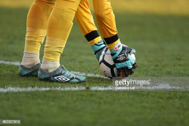 General view of the gloves boots and ball of goalkeeper Dean Henderson of Shrewsbury Town during the Emirates FA Cup Third Round match between...