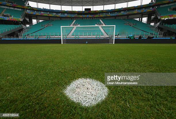 A general view of the goal mouth and the penalty spot prior to the Spain training session ahead of the 2014 FIFA World Cup Group B match between...