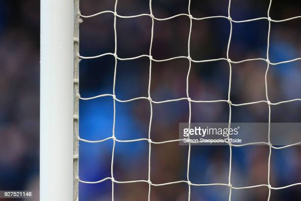 A general view of the goal net during the Premier League match between Manchester City and Chelsea at the Etihad Stadium on March 4 2018 in...