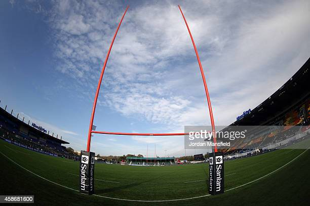 General view of the goalposts ahead of the match between Saracens and DHL Western Province at Allianz Park on November 9, 2014 in Barnet, England.