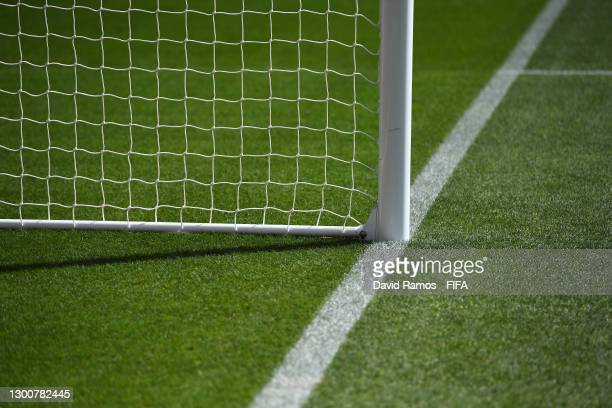 General view of the goalposts and netting inside of the stadium ahead of the 5th Place Playoff FIFA Club World Cup Qatar 2020 Match between Ulsan...