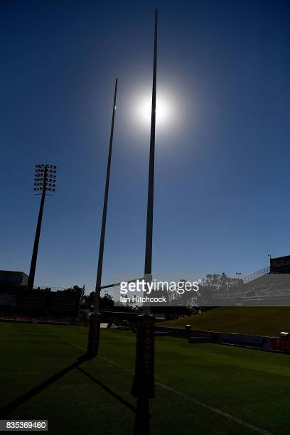 General view of the goalposts is seen before the start of the round 24 NRL match between the North Queensland Cowboys and the Cronulla Sharks at...