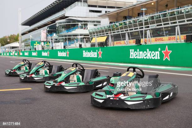 A general view of the gokarts used in the Heineken Champions of the Grid gokart race ahead of the Formula One Grand Prix of Italy at Autodromo di...