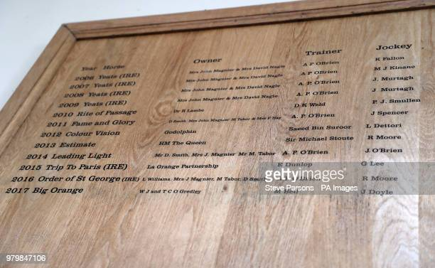 General view of the Gold Cup winners board during day three of Royal Ascot at Ascot Racecourse.