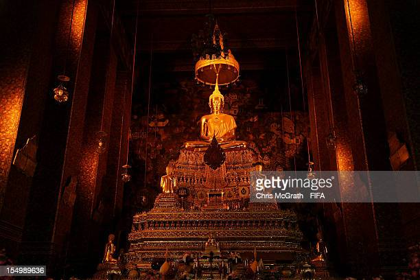 A general view of The Golden Buddha at Wat Pho temple of the Reclining Buddha on October 30 2012 in Bangkok Thailand Teams from all over the world...