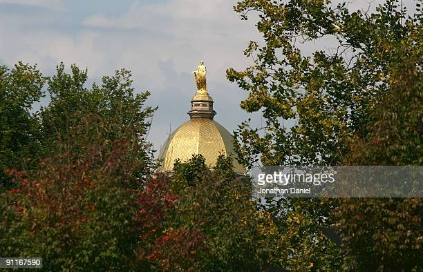 """General view of the """"Golden Dome"""" on the campus of Notre Dame University before a game between the Notre Dame Fighting Irish and the Michigan State..."""